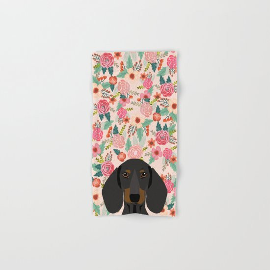 Dachshund florals cute pet gifts black and tan dachshund gifts for dog lover with weener dog  Hand & Bath Towel