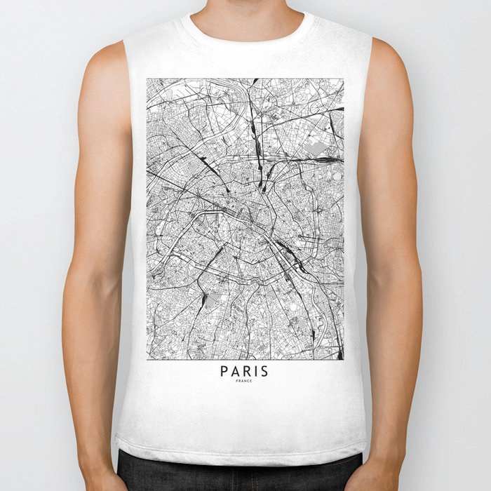 Paris White Map Biker Tank