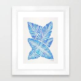 Tropical Banana Leaves – Blue Palette Framed Art Print
