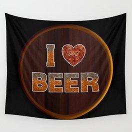 I Love Beer Keg Wall Tapestry