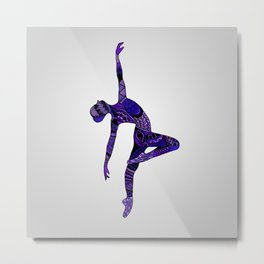 Dancer Zentangle in Purple Metal Print