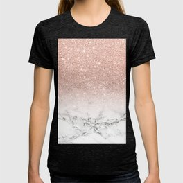 Modern faux rose gold pink glitter ombre white marble T-shirt