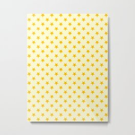 Amber Orange on Cream Yellow Stars Metal Print