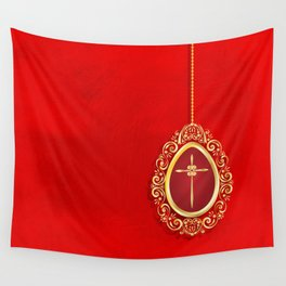 Beautiful red egg with gold cross on rich vibrant texture Wall Tapestry