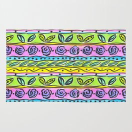 Whimsical Floral Stripe Pattern Rug