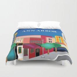 Ann Arbor, Michigan - Skyline Illustration by Loose Petals Duvet Cover