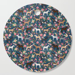Horse Florals - navy Cutting Board