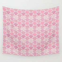 Pink Heart Valentine's Doilies Pattern Wall Tapestry
