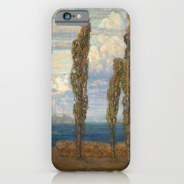 Landscape with lake and poplars by Hélène Funke iPhone Case