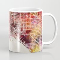 los angeles Mugs featuring Los angeles by MapMapMaps.Watercolors
