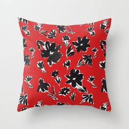 Red and Black Mod Floral Pattern Sophisticated Cheerful Florals Contemporary Royal English American Garden Throw Pillow