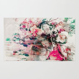 Watercolor Elephant and Flowers Rug