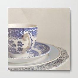 China cup and plates. Metal Print