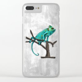 Chameleon on a branch Clear iPhone Case