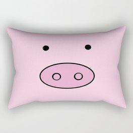 Little Piggy (Pig Face, Pig Nose) - Pink Black  Rectangular Pillow