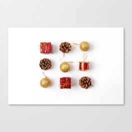 Flat lay of Christmas decorations. Minimal style on white background Canvas Print