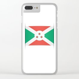 Flag of Burundi.  The slit in the paper with shadows. Clear iPhone Case