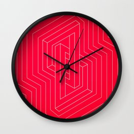 Modern minimal Line Art / Geometric Optical Illusion - Red Version  Wall Clock