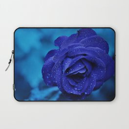 Blue Rose With Rain Drops Laptop Sleeve