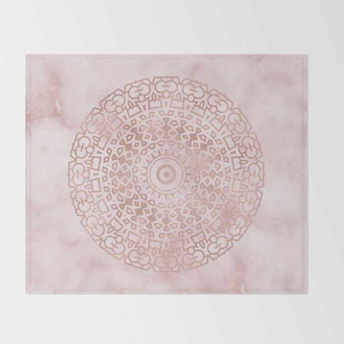Misty pink marble rose gold mandala Throw Blanket