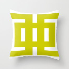 Chartreuse & White Graphic B Throw Pillow