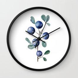 Blackthorn Blue Berries Wall Clock