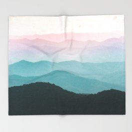 Smoky Mountain National Park Sunset Layers III - Nature Photography Throw Blanket