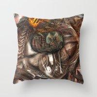 darwin Throw Pillows featuring Darwin Meets Orwell by John Hansen
