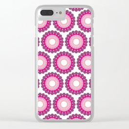 Purple pink circled polka dots on white Clear iPhone Case