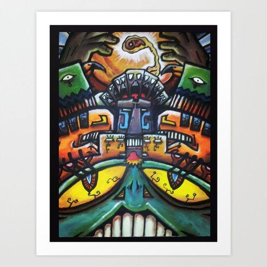 Aztec Colorfull Monsters Art Print