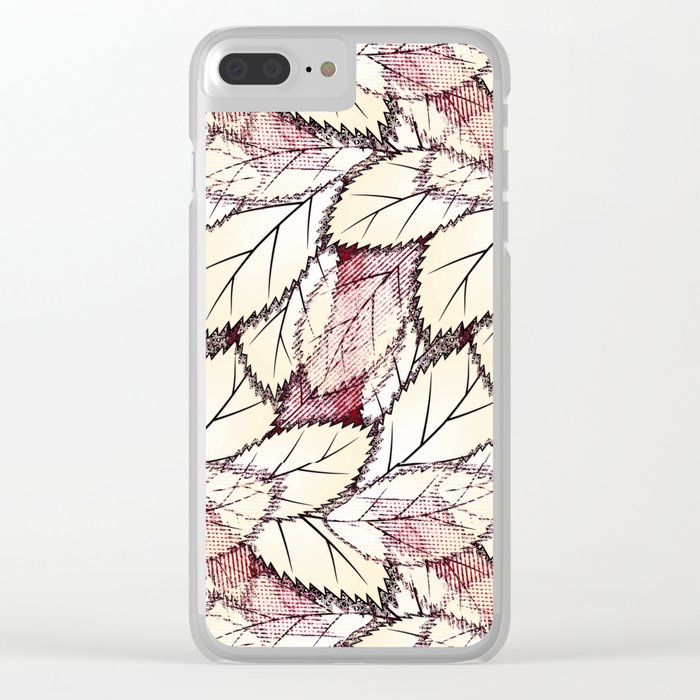 Delicate openwork leaves on a white , light brown background. Clear iPhone Case
