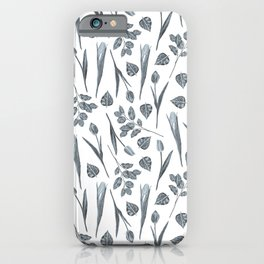 Modern botanical gray mauve teal floral pattern iPhone Case