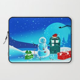 Tardis With Snow Ball Gift Christmas Laptop Sleeve