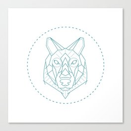 Geometric Blue Wolf Canvas Print