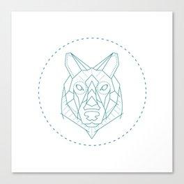 Geometric Blue Wolf Canvas Print