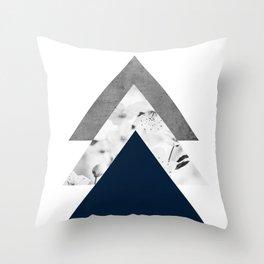 Blue grey monochrome blossom arrows Throw Pillow