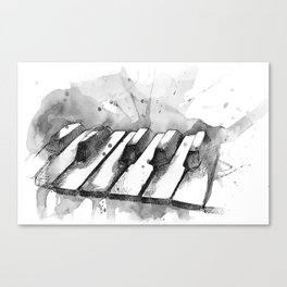 Watercolor Piano (Grayscale) Canvas Print