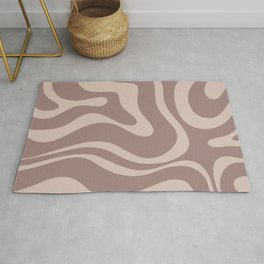 Retro Modern Liquid Swirl Abstract Pattern Square in Cocoa Brown Rug