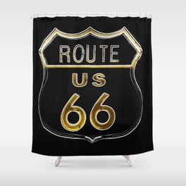 Route 66 American Road Sign Neon Shower Curtain