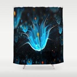 3D Blue Flower V4 Shower Curtain