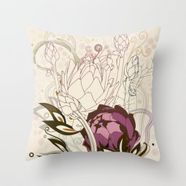 Peach and purple  artichoke Throw Pillow