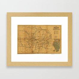 Railroad Map Chicago & Surrounding Midwest (c. 1850) Framed Art Print
