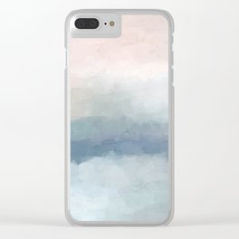 Blush Pink Mint Sky Baby Blue Abstract Ocean Sky Sunrise Wall Art Water Clouds Painting Print Clear iPhone Case