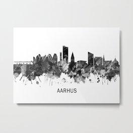 Aarhus Denmark Skyline BW Metal Print
