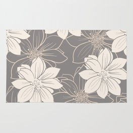 Pink and grey autumn dahlia flowers Rug