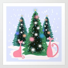 Pink And Perfect Kitty Cats In The Sparkling Snow Art Print