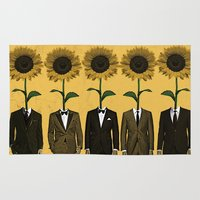 suits Area & Throw Rugs featuring Sunflowers In Suits Print by Roxy Makes Things