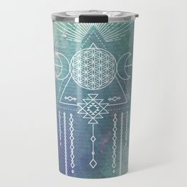 Mandala Flower of Life in Turquoise Stars Travel Mug