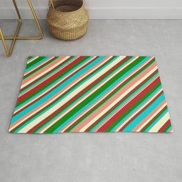 Eyecatching Dark Turquoise, Dark Salmon, Light Yellow, Red & Green Colored Stripes Pattern Rug