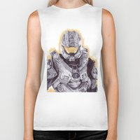 master chief Biker Tanks featuring Halo Master Chief by DeMoose_Art